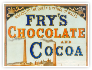 An early Fry's ad featuring the Bristol factory. Fry's produced one of the first moulded chocolate bars.
