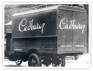 The Cadbury script logo. This first appeared on the transport fleet in 1921.