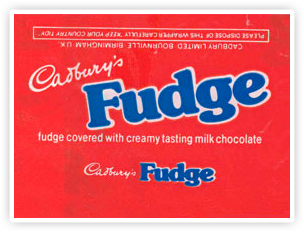 Early Cadbury Fudge packaging.